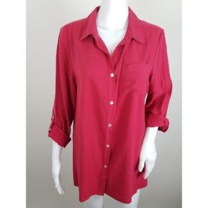 J. Jill Silk Button Front Tab Sleeve Blouse